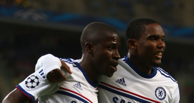 Ramires: Congratulated by Samuel Eto'o during Blues cruise