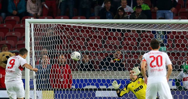 Vedad Ibisevic gives Stuttgart the lead from the penalty spot