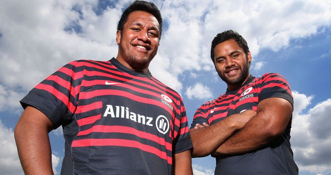 The Vunipola brothers in Saracens colours
