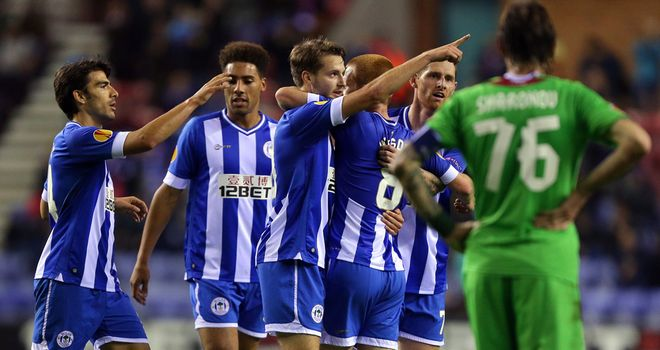 Nick Powell: Celebrates his equaliser