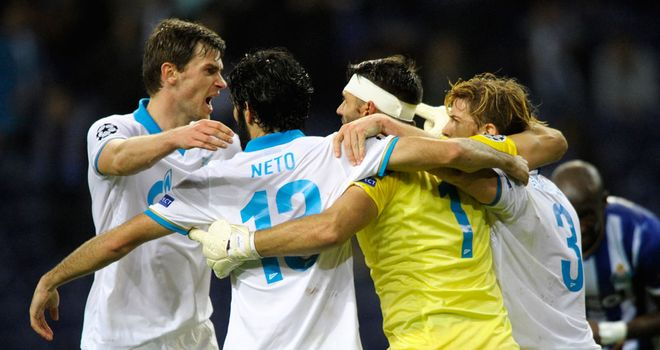Zenit celebrate after securing victory in Portugal