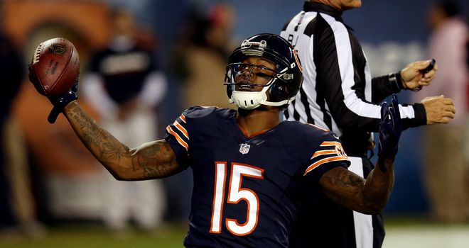 Wide receiver Brandon Marshall celebrates a touchdown against the New York Giants