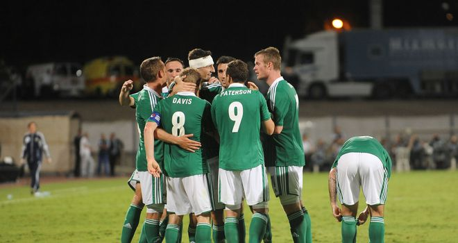 Steven Davis: Northern Ireland celebrate his goal