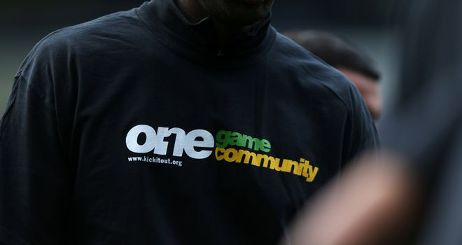 A Kick It Out anti-racism t-shirt worn by a player during pre-match training