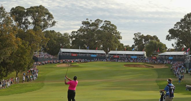 Last year's winner Bo Van Pelt hits an approach shot on the 18th hole at Lake Karrinyup