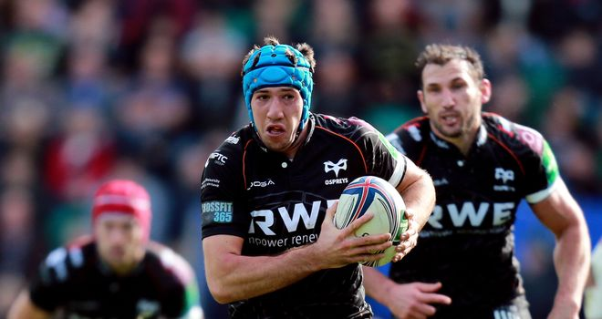 Justin Tipuric: crossed twice for Ospreys