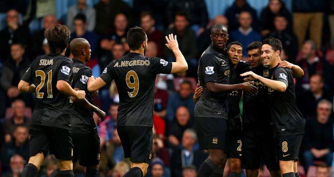 Sergio Aguero: Celebrates in victory at West Ham