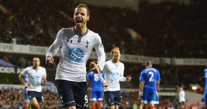 Roberto Soldado: The Spurs striker celebrates the winning goal against Hull City