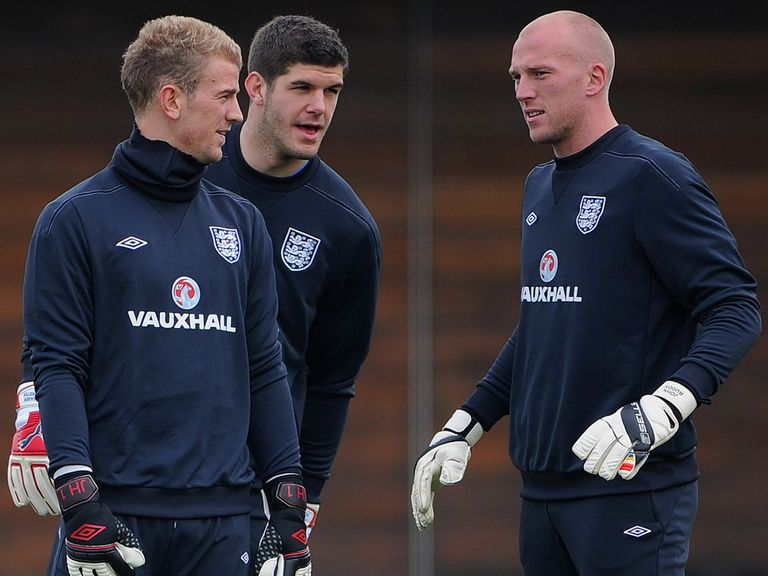 John Ruddy (right) believes Joe Hart (left) is England's top keeper
