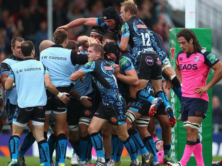 Exeter celebrate during their win over Cardiff