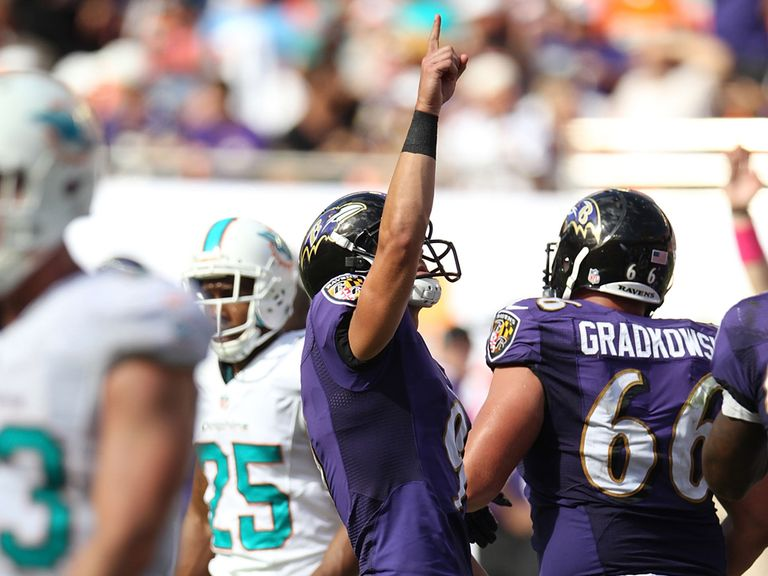 Justin Tucker celebrates what turned out to be the winning kick