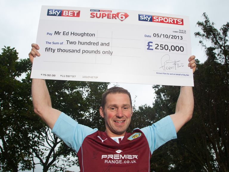 Super 6 jackpot winner Ed Houghton celebrates.