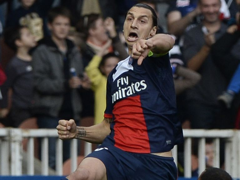 Zlatan Ibrahimovic celebrates one of his two goals for PSG