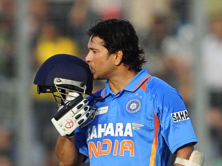 Tendulkar: Pictured here celebrating his 100th hundred