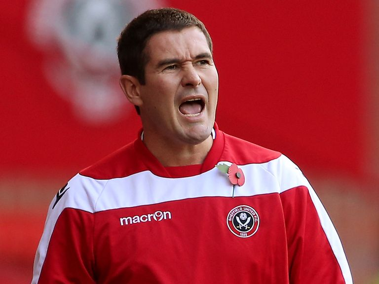 Nigel Clough shouts as Sheffield United beat Crewe.
