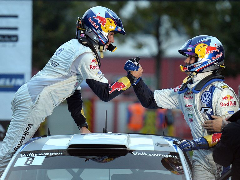 Sebastien Ogier enjoys the celebrations.