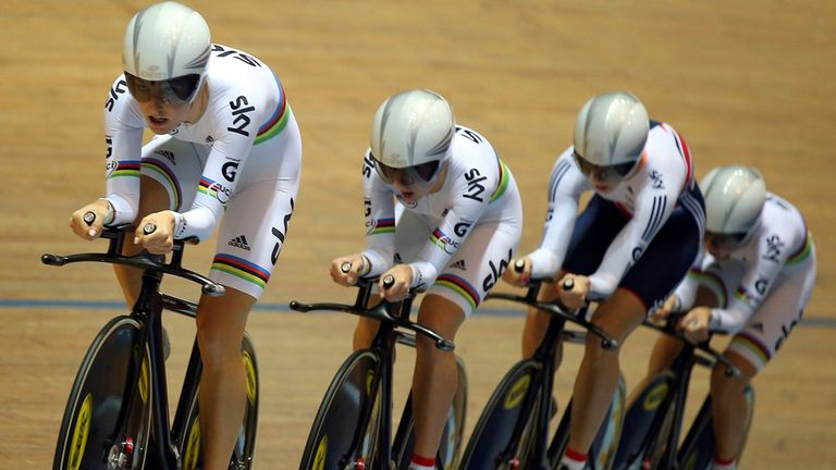 Laura Trott, Dani King, Jo Rowsell and Elinor Barker broke their own world record by more than 2.5 seconds