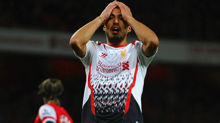 Luis Suarez: Reacts to one of Liverpool's missed chances