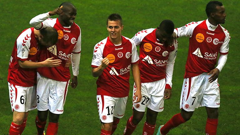 Prince Oniangue: Celebrates his goal for Reims against Bastia