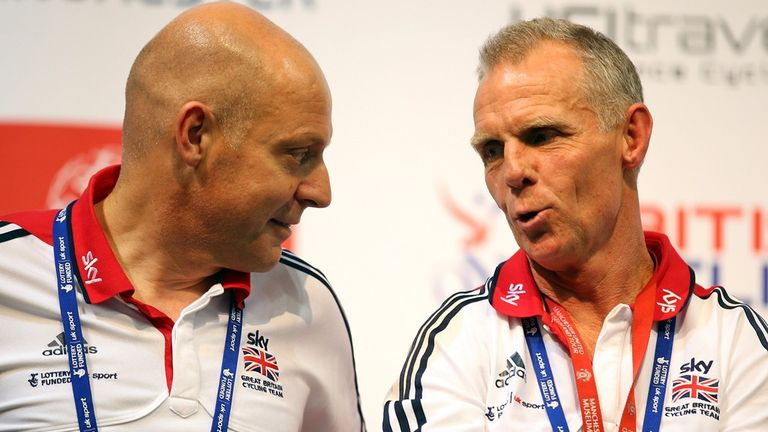 Shane Sutton, right, said the absence of Sir Dave Brailsford, left, was not to blame for Britain's poor world championships