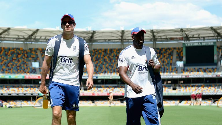Alastair Cook and Michael Carberry at the Gabba ahead of Ashes opener
