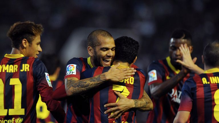 Pedro: Celebrates his goal for Barcelona with Dani Alves