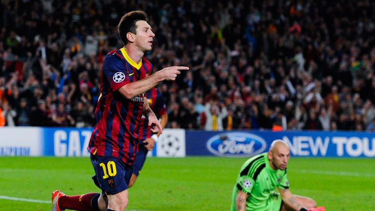Lionel Messi: Celebrates his second goal against AC Milan