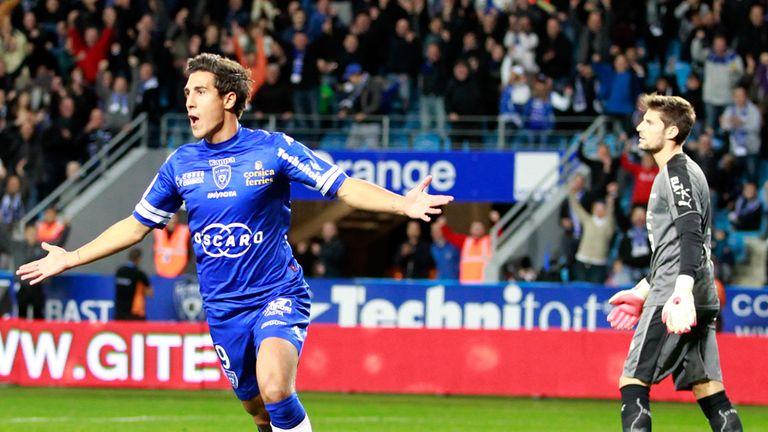 Gianni Bruno celebrates his goal for Bastia