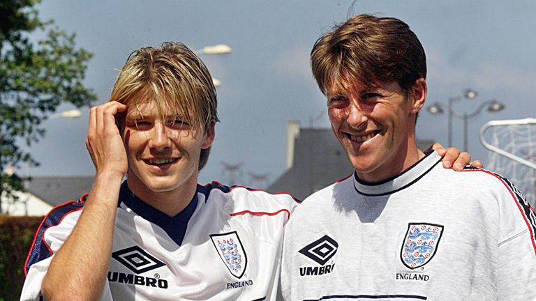 Darren Anderton with modern superstar David Beckham before the 1998 World Cup finals