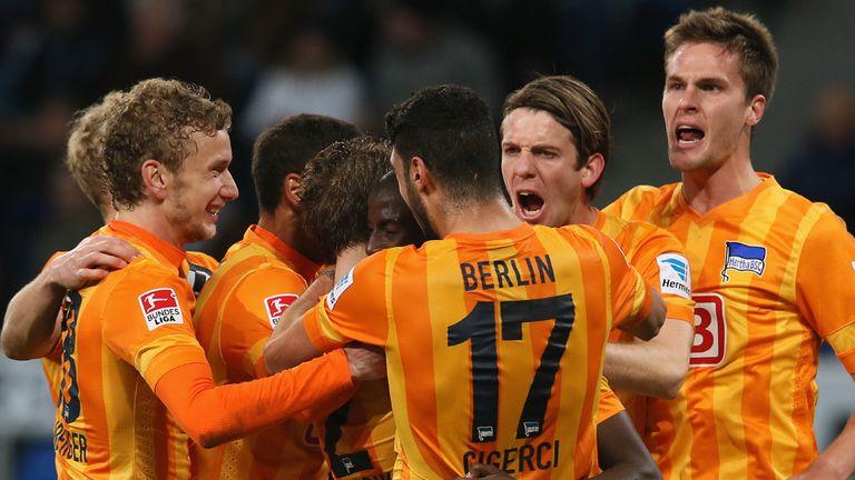 Hertha Berlin players celebrate