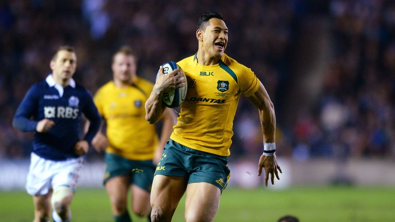 Israel Folau scores against Scotland