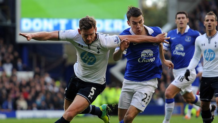 Denied: Jan Vertonghen cuts across Seamus Coleman before being felled in the penalty area