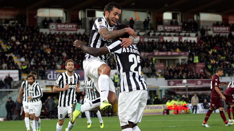 Carlos Tevez: Celebrates his goal at Livorno