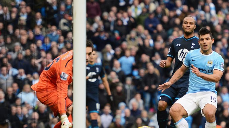 Sergio Aguero: Tucks home his goal at the Etihad