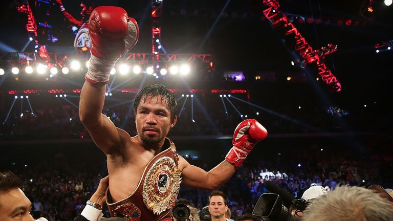 Manny Pacquiao celebrates victory over Brandon Rios
