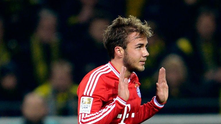 Mario Goetze celebrates scoring for Bayern Munich