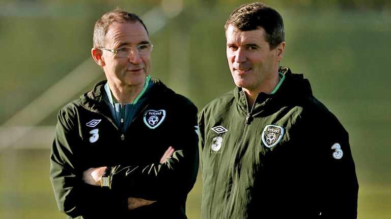 Martin O'Neill and Roy Keane took their first training session with the Republic of Ireland