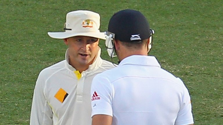Michael Clarke has words with James Anderson