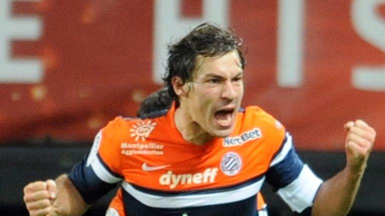 Benjamin Stambouli celebrates for Montpellier