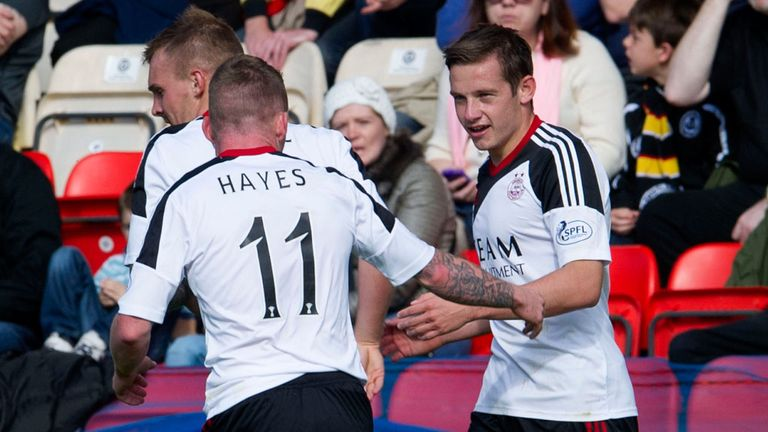 Pawlett (right) and Hayes celebrate goal at Partick Thistle in September