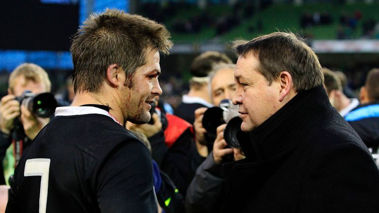 Steve Hansen speaks to captain Richie McCaw after New Zealand's victory in Dublin