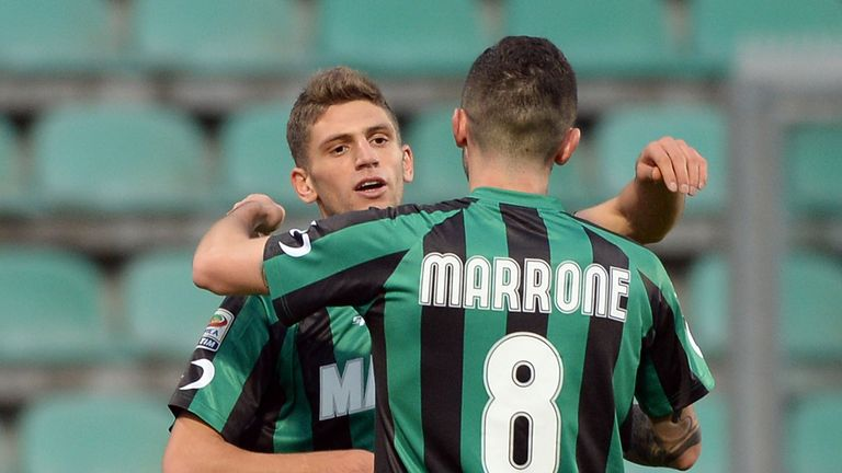 Domenico Berardi (l): Sunk Milan with four goals
