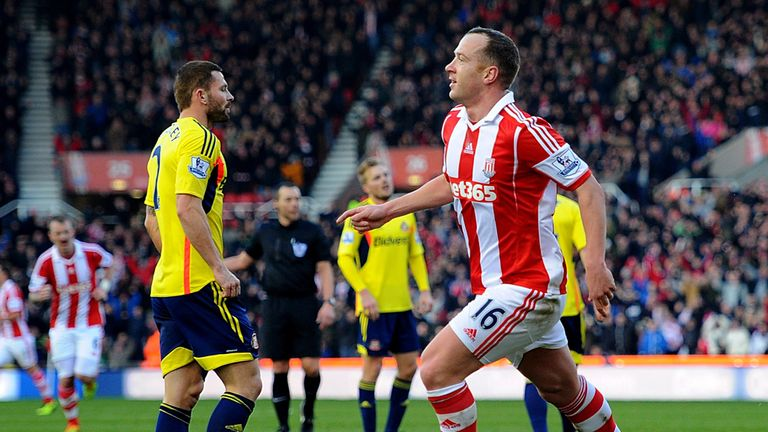 Charlie Adam: Celebrates his strike for Stoke