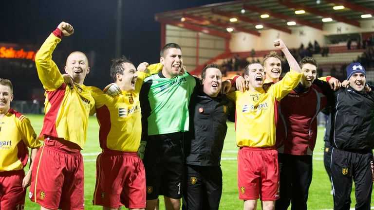 Albion Rovers: Players celebrate a famous victory over Motherwell