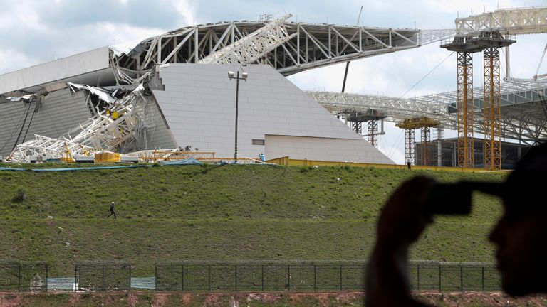 Corinthians Arena: Part of the stadium due to host the World Cup opener has collapsed