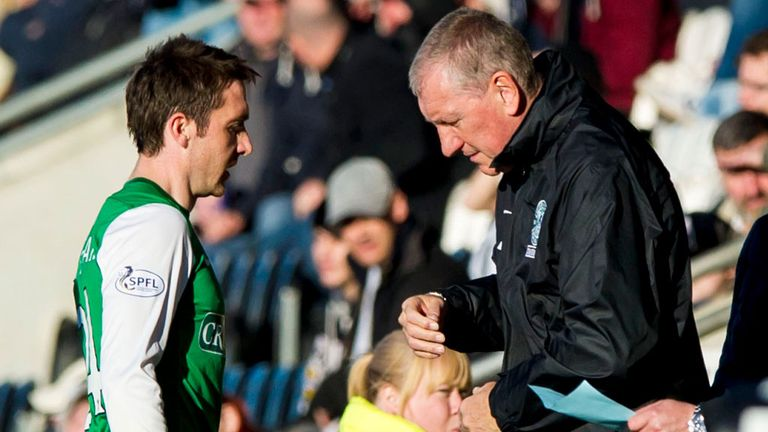 Paul Heffernan (left) with Terry Butcher: Hibernian striker facing six weeks out