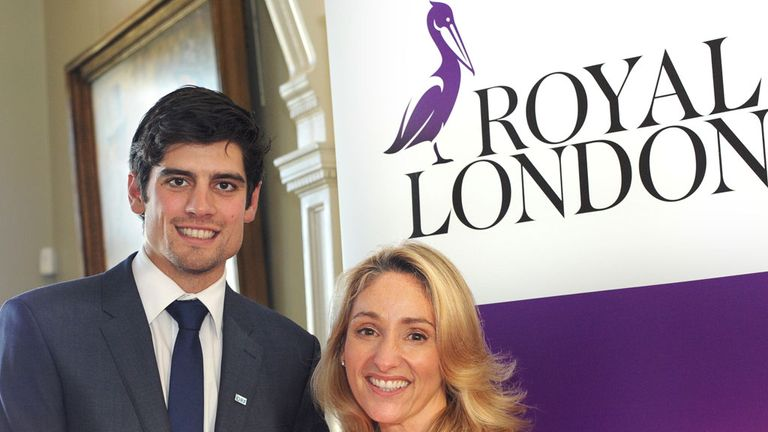 England captain Alastair Cook and Royal London's Clare Salmon