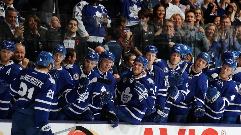 The Toronto Maple Leafs celebrate James van Riemsdyk's winner