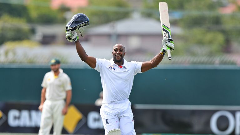 Michael Carberry celebrates his century against Australia A