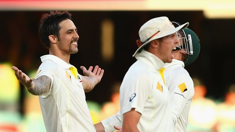 Ashes joy: Mitchell Johnson celebrates taking the wicket of James Anderson to win the first Test in Brisbane